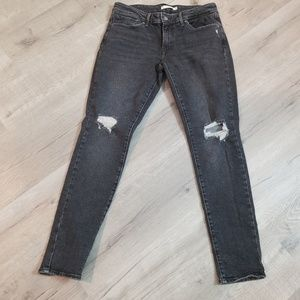 Levi's 711 Skinny gray ripped jeans 30